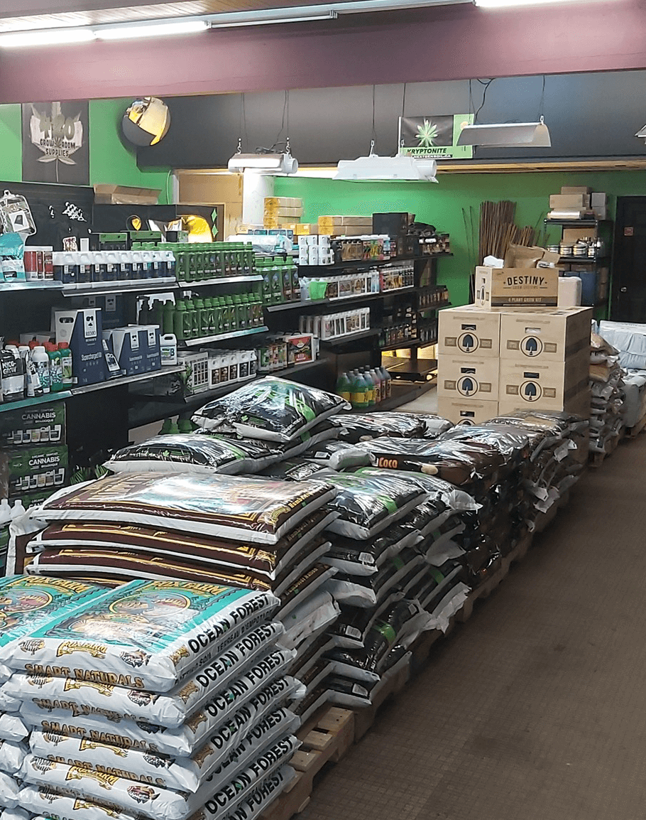 Aisles in Edmonton hydroponics store stocked with plant nutrients and hydroponic media