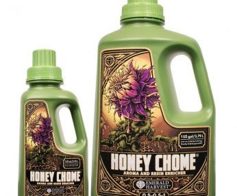 Purple thistle dripping in honey on bottles of aroma and resin enricher